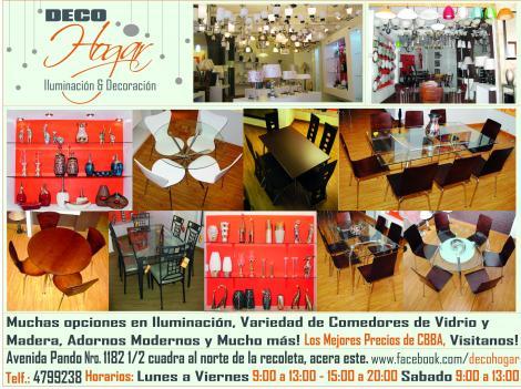 Lamparas, mesas, sillas, adornos, espejos, cuadros